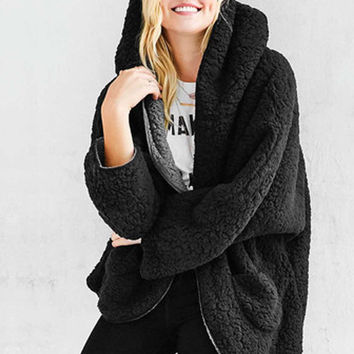 Black Reversible Faux Fur Hooded Coat Fuzzy Jacket