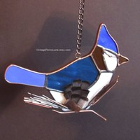 Vintage Blue Jay Sun Catcher, Handmade Window Decor, Kitchen Window, Stained Glass Bird