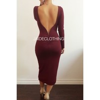 "BURGANDY ""LET YOUR BACK OUT"" Long Sleeved Dress - Jaide Clothing"