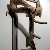 Fusion Frame Tree Branch Art - Hoss: Rustic Pine Wood Frame with Grafted Pine Tree Branch