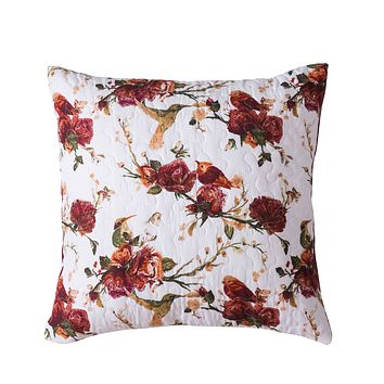 Tache Floral Hummingbirds Burgundy White Vintage Rose Garden Cushion Cover 2-Pieces (SD-7676)