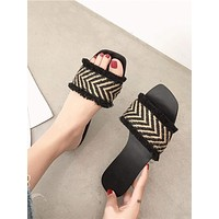 Chevron Detail Open Toe Sliders