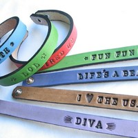 Personalized Leather Bracelets / Name Bands - Custom Made to Your Order