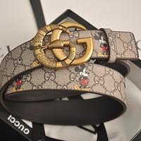 GUCCI GG mens and womens double G letter buckle smooth buckle belt-10