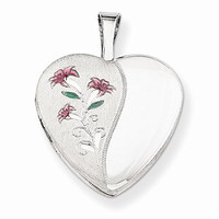 Sterling Silver 16mm Enameled Lily Heart Locket, Best Quality Free Gift Box Satisfaction Guaranteed