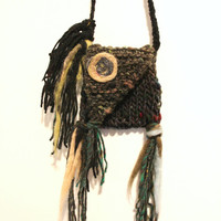 Knit pouch necklace, medicine bag, mojo bag, talisman pouch, amulet pouch, small knit purse, tribal necklace, crystal pouch