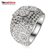 50%  Newest Fashion Platinum Plating Austrian Crystal Noble Flower Engagement Rings/Anillos for Women Wedding Jewelry Ri-HQ0045