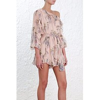 Boho Chic One-Shouldered Romper