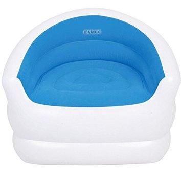 By PoolCentral 37 inch  White and Blue Color-Splash Indoor/Outdoor Inflatable Lounge Chair