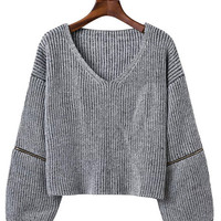 V-Neck Zip Detail Ribbed Sweater in Multicolor