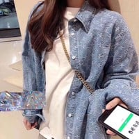 LV Louis Vuitton Autumn Winter Classic Stylish Women Casual Denim Cowboy Cardigan Jacket
