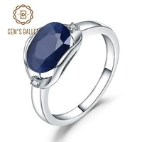 GEM'S BALLET 925 Sterling Silver Engagement Rings 3.24Ct Natural Blue Sapphire Gemstone Ring for Women Fine Jewelry