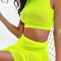 Neon Green Orange Mesh Sexy Two Piece Set Skirt and Crop Top Women 2 Piece Summer Matching Sets Club Outfits