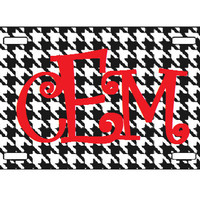Houndstooth Monogram Car Tag, Personalized License Plate, Monogram License Plate, Customizable Car Tag