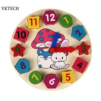 Wooden Toys Puzzle Digital Geometry Clock Baby Wooden Clock Toys For Kids Children Toys