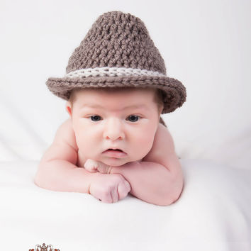 Crochet Baby Hat Baby Fedora by TheBabyCrow on Etsy