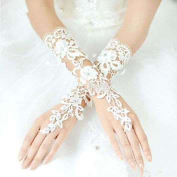 Fabulous Luxury Lace Flower Fingerless Hollow Bridal Gloves Prom Party Gloves Wedding Dress Accessories (Color: White) = 1958021700