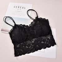 Women's Ladies Lace Strappy Eyelash Vest Party Going Out Bra Crop Tops Lace Sexy Bra