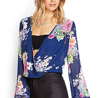 FOREVER 21 Floral Surplice Plunge Top Navy/Multi