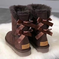 UGG girl Large bow tie Keep warm Snow boots-2
