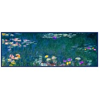 Water Lilies in Blues Runner inspired by Claude Monet's impressionist painting Counted Cross Stitch Pattern