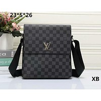 """Louis Vutitton"" Men Simple Casual Briefcase Fashion Classic Letter Tartan Single Shoulder Messenger Bag"