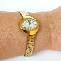 Bracelet Watch For Women. Oval Face Womens Watch Chaika. Vintage Gold Plated Ladies Bracelet Watch. Small Womens Watch. Gift For Her