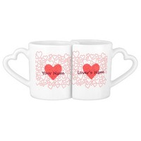 Cute Red Heart Personalized Lover's Mug Set