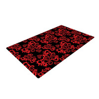 """Mydeas """"Sweetheart Damask Black & Red"""" Pattern Woven Area Rug"""