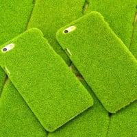 2015 Newest Fresh Cute Japan Simulation 3D Green Grass Lawn Plush Anti-knock Shockproof Phone Case Shell For Iphone 6 6 Plus