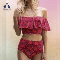 Swimsuit For Girls Flounce bikini 2018 Swimwear Female high waist bikini push up Bather printing bathing suit women Tankini