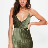 Missguided - Khaki Pleated Velvet Strappy Bodycon Dress