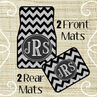 Custom Personalized Set of Car Floor Mats - Front and Rear Back, Monogrammed Car Mats, Chevron, Black Gray or ANY color