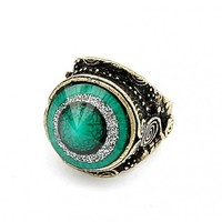*Free Shipping*Green Stone Tapered Ring 11041426