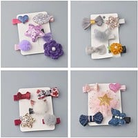 5PCS/ SET girls flowers hair clips cartoon hairpins toddlers kids Animal Bow SAFE Barrettes Hair Accessories Flower gift set L2