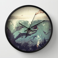 My favourite morning race Wall Clock by Paula Belle Flores