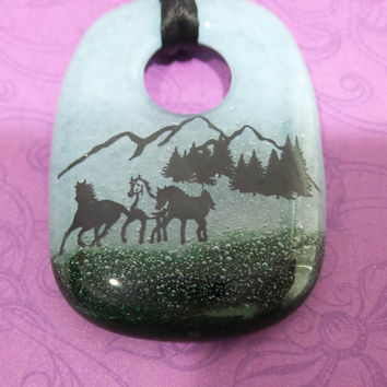 Mountain Scene Necklace, Horse Pendant, Wild West, Ready to Ship, Fused Glass Jewelry - Wild Horses - -5