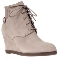 MICHAEL Michael Kors Carrigan Wedge Knit Cuff Lace Up Ankle Boots - Dark Khaki