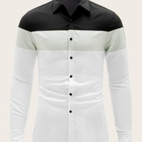 Men Cut-and-sew Long Sleeve Shirt