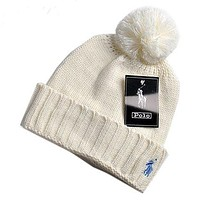 POLO 2018 autumn and winter men and women tide brand knit hat F0908-1 White