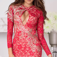 GIANNA LACE DRESS IN RED