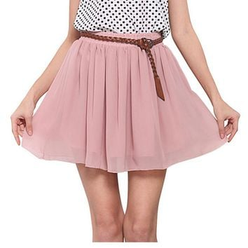 High Quality Fashion Summer Women Chiffon Skirt Casual Solid Short Ladies High Waist Skirts Double Layer Free Size