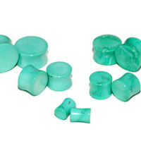 "Mint Green Stone Plugs - 8g, 6g, 4g, 2g, 0g, 00g, 7/16"", 1/2"", 9/16"", 5/8"", 3/4"", 7/8, 1"""