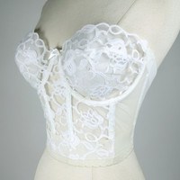 1980s white long line bra, strapless lace low back corset bra, 34 D, La Trigue