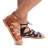 Bayside13S by Bamboo, Open Toe Loop Cut Out Lace Up Gladiator Flat Ankle Sandals