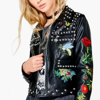 Hannah Embroidered Studded Biker Jacket | Boohoo