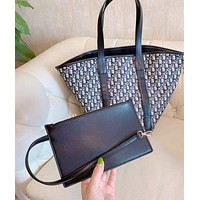 DIOR Fashion Women Shopping Bag Handbag Tote Shoulder Bag Purse Wallet Set Two-Piece
