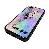 Apple iPhone 5 or 5S Case Cover Skin One Day I'll Fly Away Feather Cute DESIGN BLACK RUBBER SILICONE Teen Gift Vintage Hipster Fashion Design Art Print Cell Phone Accessories
