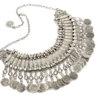 Statement Coin Necklace Shape Tassels Multi-Layered Necklace For Women Jewelry