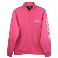 Vineyard Vines Mens Jetty Red Graphic 1/4 Zip Vintage Whale Pullover (Large)